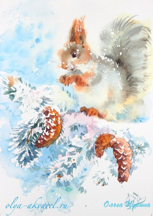 Цурина Ольга картины акварель белка шишки снег зима праздник новый год
