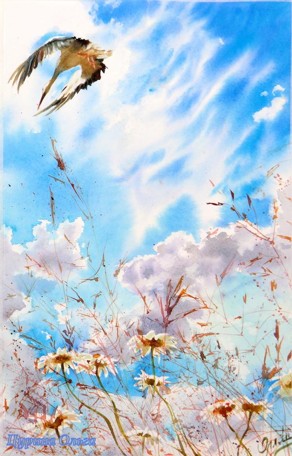 аист акварель картина художник ольга цурина ромашки поевые цветы