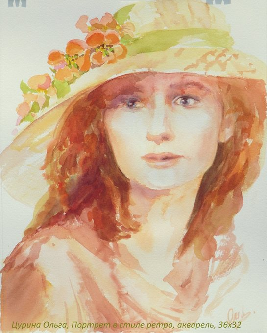Портрет молодой женщины в стиле ретро, живопись, акварель, 36х32, Цурина Ольга