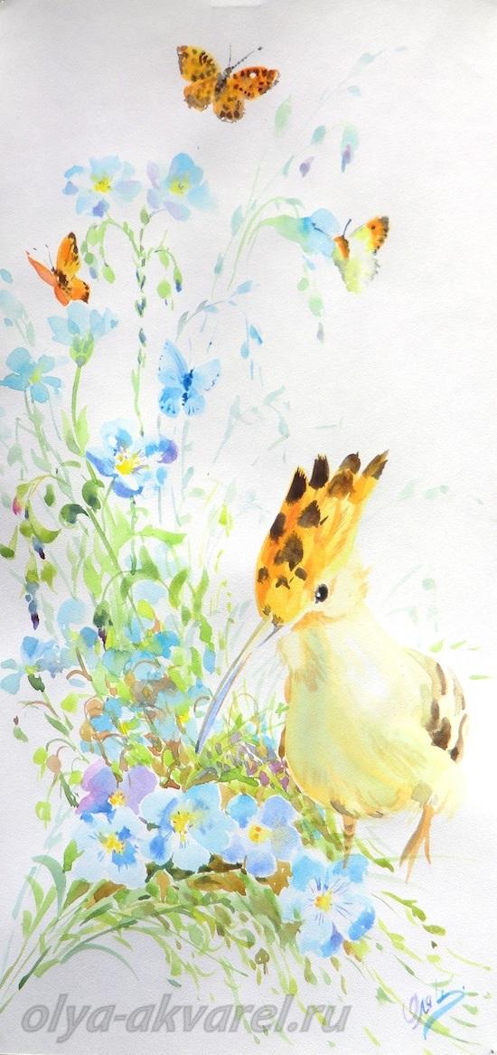 И бабочки акварельная картина 42х20
