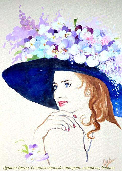 Шляпе стилизованный женский портрет