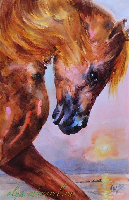 Кони лошади жеребята в акварельных
