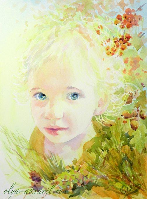 Цурина Ольга. ДИТЯ ЛЕСА портрет девочки, акварельная живопись, 30х24