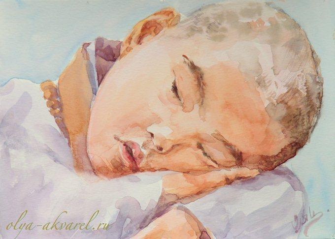 Цурина Ольга. Утомился... Портрет спящего ребенка, живопись акварелью