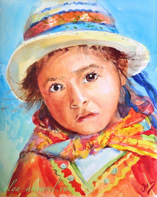 Цурина Ольга. Маленькая принцесса загадочной страны. Портрет девочки, живопись акварелью