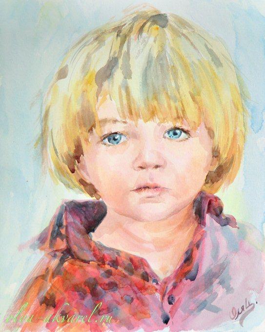 Цурина Ольга. Белобрысый мальчуган. Портрет мальчика, живопись акварелью