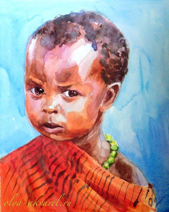 Цурина Ольга. МАЛЕНЬКИЙ ВОЖДЬ ))) Портреты детей, живопись акварелью, 30х24