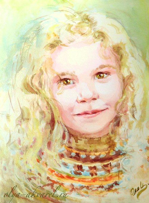 Цурина Ольга. ИСКОРКИ СМЕХА, портрет белокурой девчонки, живопись акварелью, 31х23