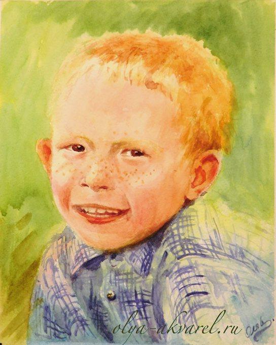 Цурина Ольга. ПОДСОЛНУШЕК  лето, рыжий-рыжий конопатый мальчишка, портрет, рисунок акварелью, 30х24