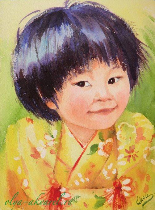 Цурина Ольга.  КУКОЛКА, портрет маленькой японской девочки в кимоно, акварельная живопись, 31х21