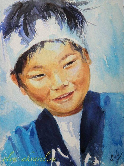 Цурина Ольга. САМУРАЙ, портрет японского мальчика в национальном костюме, акварельная живопись, 31х21