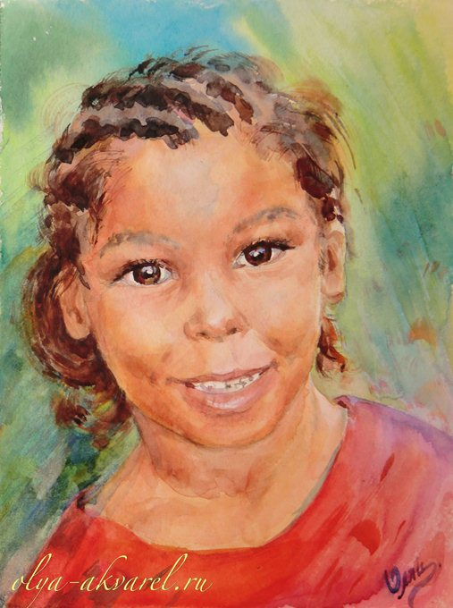 Цурина Ольга. Девчонки, держитесь! портрет мальчишки, акварельный рисунок, 32х24