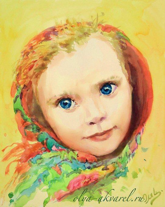 Цурина Ольга. НА ПРАЗДНИК! Портрет девочки в красивом платке, картина акварелью