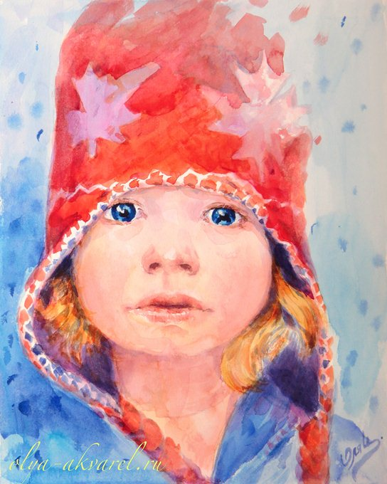 Цурина Ольга. Морозная прогулка, детский портрет, акварельная живопись, 30х24
