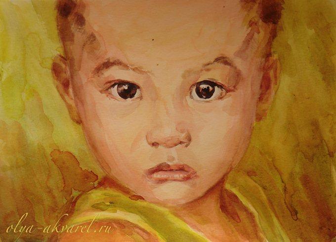 Цурина Ольга. Серьезный мужчина. Портрет ребенка, живопись акварелью