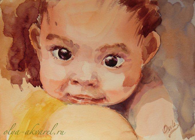 Цурина Ольга. На руках у мамы. Портрет ребенка, живопись акварелью
