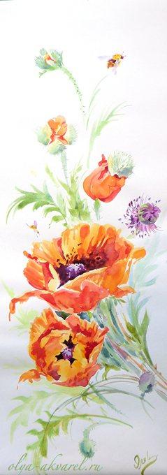 МАКИ цветы живопись акварель купить картину у художника Цурина ОЛьга