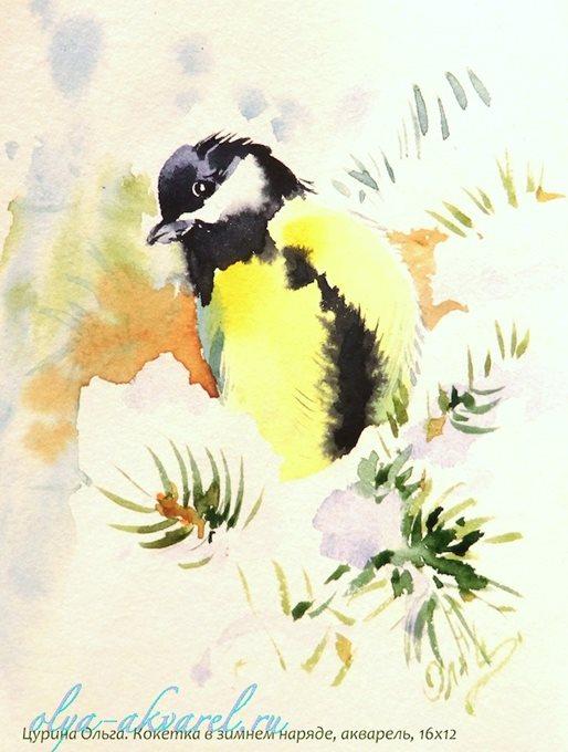 птицы в картинах СИНИЧКА акварель
