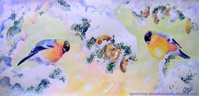 ВОЛШЕБНАЯ СКАЗКА ЗИМА  картины художника,живопись акварелью