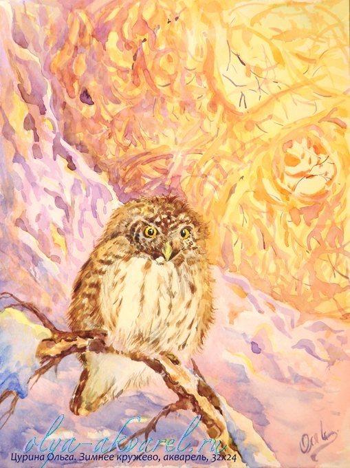 Зима в картинах художников акварель