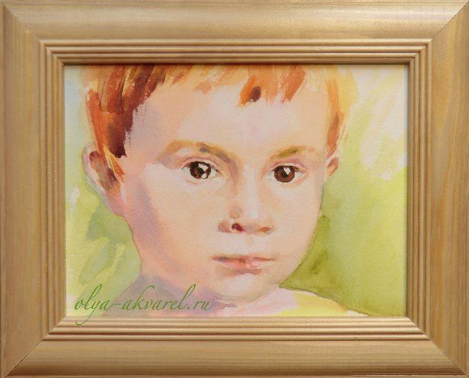 Цурина Ольга. РЫЖИК, акварельный портрет мальчика,15х20