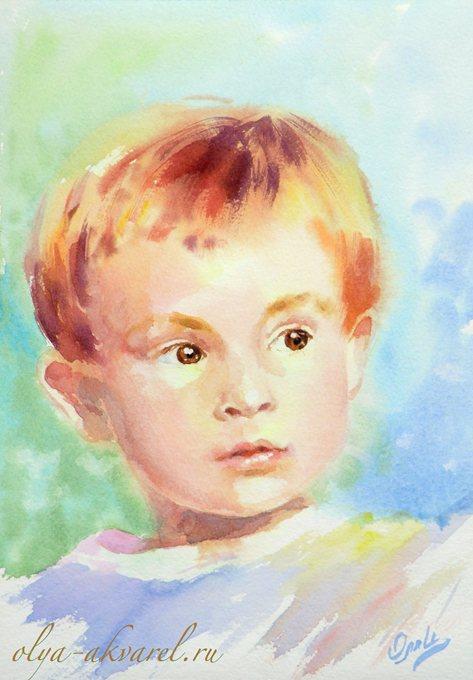 Цурина Ольга. Внук Андрюшка, портрет для бабушки в подарок, акварельная картина, 30х21