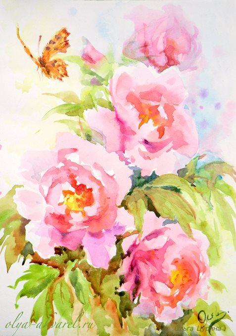 Розовые пионы, купить картину в спальню, гостиную