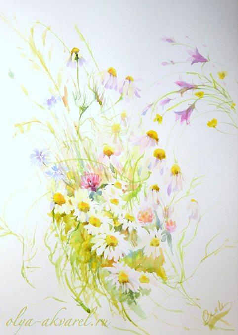 ЛЕТО цветы на картинах живопись акварелью купить у художника Цурина Ольга