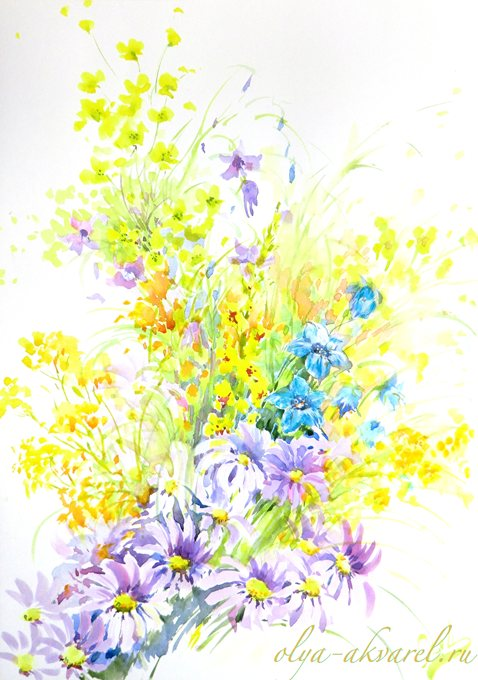лето полевые цветы на картинах акварель купить живопись у художника Цурина Ольга