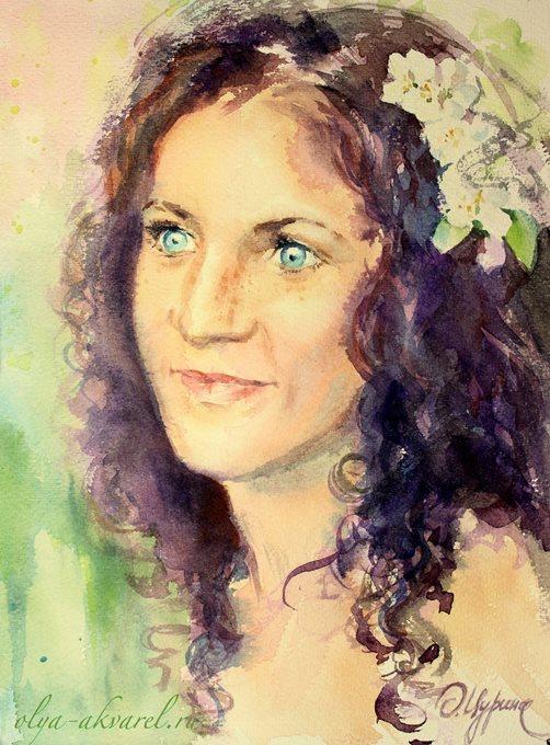 портрет красивой женщины, живопись акварель