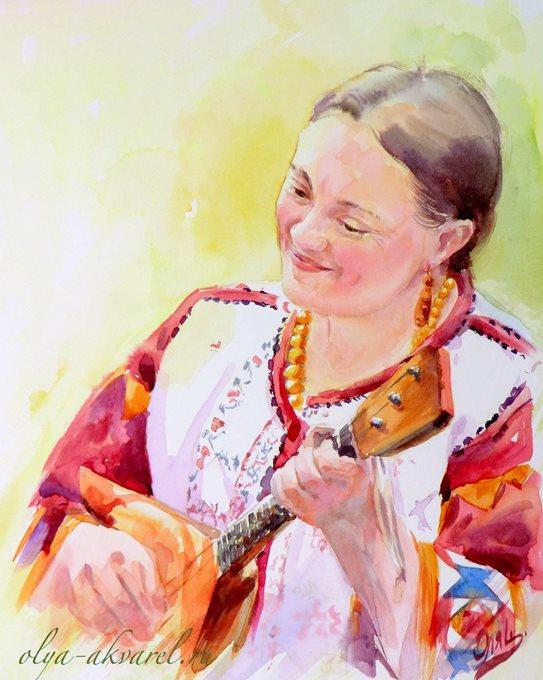Кабанова Жанна портрет акварелью