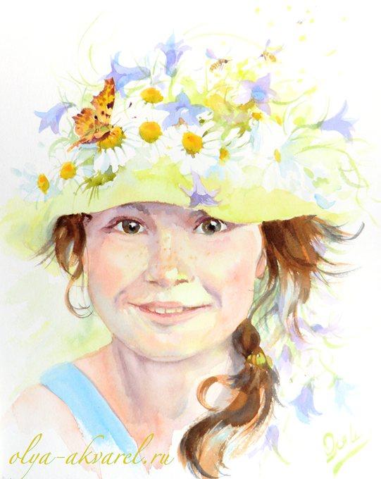 Цурина Ольга. Мне скоро в школу, а сейчас ЛЕТО! портрет девочки, акварельная живопись, 30х24