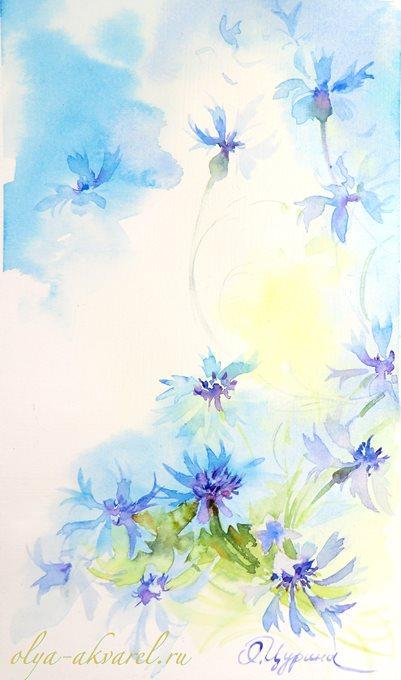 ВАСИЛЬКИ купить картину полевые цветы Цурина ОЛьга