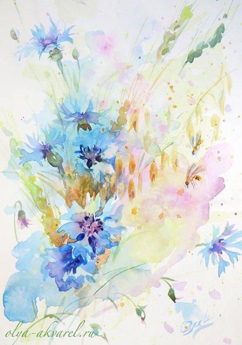 ВАСИЛЬКИ живопись цветов акварелью художник Цурина Ольга