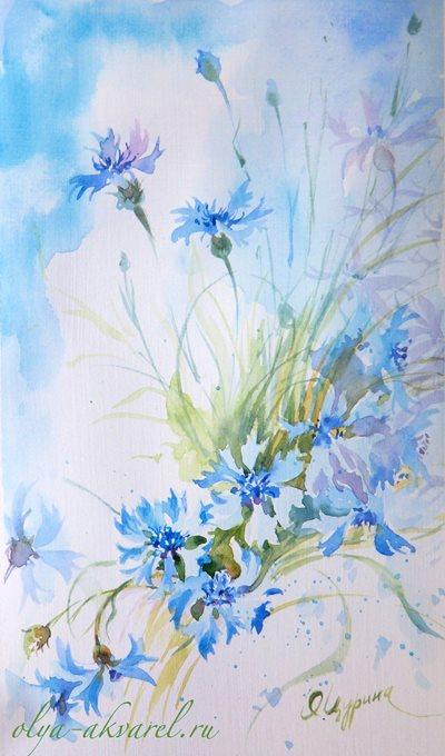 ВАСИЛЬКИ продажа картин с цветами акварелью Цурина Ольга