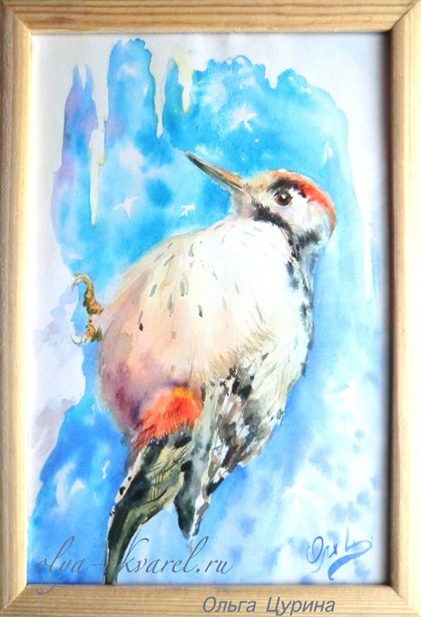 (Дятел, зима, птицы, лес, мороз, декоративный пейзаж), картина в технике акварель, природа зимой, 18х13