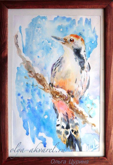 (Дятел, снег, сосульки), акварельный рисунок, посвященный зиме