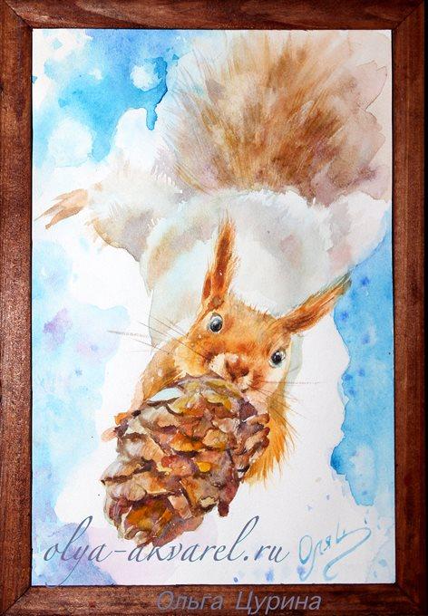 картина акварель (Белочка с подарком -  шишкой с волшебными орешками), 18х13
